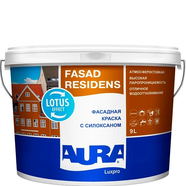 Фото 1 - Краска Aura Fasad Residens, фасадная, латексная, матовая, с силоксаном, 2.5л База TR, Аура.