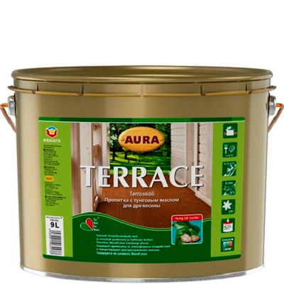 """Фото 1 - Масло """"Террас"""" (Terrace) коричневое для наружных деревянных поверхностей """"Аура/Aura""""."""