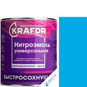 """Фото 2 - НитроЭмаль """"НЦ-132 Голубая"""" универсальная быстросохнущая гладкая """"Крафор/Krafor""""."""