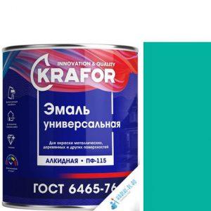 """Фото 3 - Эмаль """"ПФ-115 Бирюзовая"""" универсальная глянцевая алкидная """"Крафор/Krafor""""."""