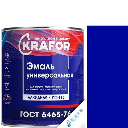 """Фото 1 - Эмаль """"ПФ-115 Синяя"""" универсальная глянцевая алкидная """"Крафор/Krafor""""."""