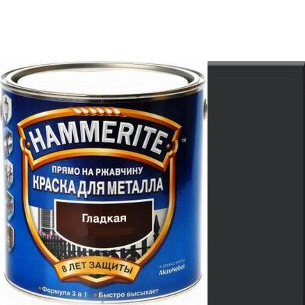 """Фото 1 - Краска """"Hammerite"""" Черная, гладкая полуматовая для металла 3 в 1 """"Хаммерайт"""" 5л."""