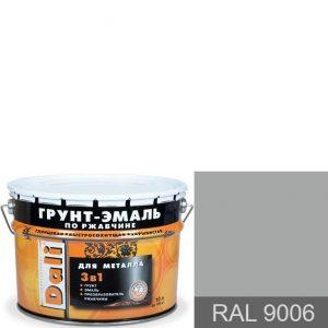 """Фото 15 - Грунт-Эмаль """"по Ржавчине"""" RAL 9006 Алюминий Гладкая, глянцевая для металла 3 в 1 """"Дали/Dali""""."""
