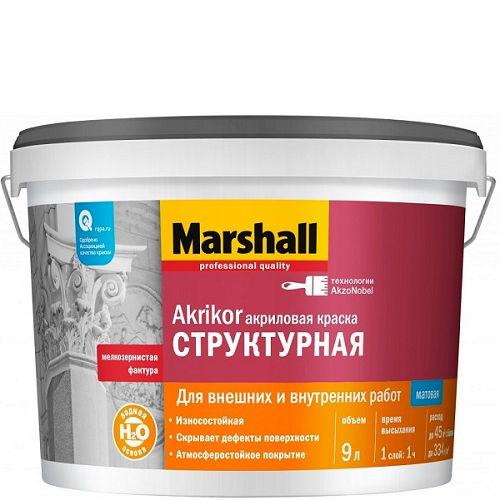 """Фото 1 - Краска фасадная акриловая Marshall Akrikor Структурная белая 9 л """"Маршал""""."""