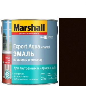 """Фото 14 - Эмаль """"Marshall"""" Эксперт Аква (Export Aqua) Темно-Коричневая, акриловая полуматовая """"Маршал""""."""