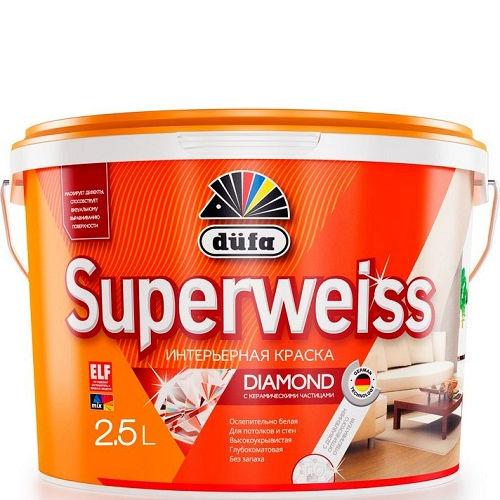 "Фото 1 - Краска ""Супервайс РД4"" (Superweiss RD4)  водно-дисперсионная глубокоматовая интерьерная ""Дюфа/Düfa""."