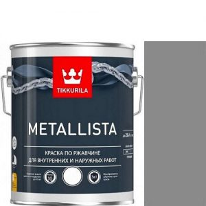 "Фото 6 - Краска ""Металлиста"" (Metallista) Серебристая гладкая, по ржавчине для металла""Тиккурила/Tikkurila""."