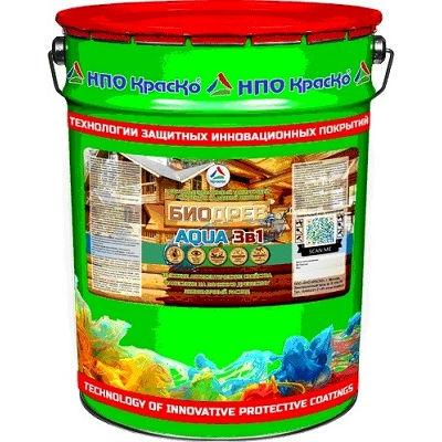 Фото 1 - Биодрев AQUA  «3 в 1» - защитно-декоративный  тонирующий антисептик на водной основе  для дерева (Бесцветный) 10кг - 20кг.