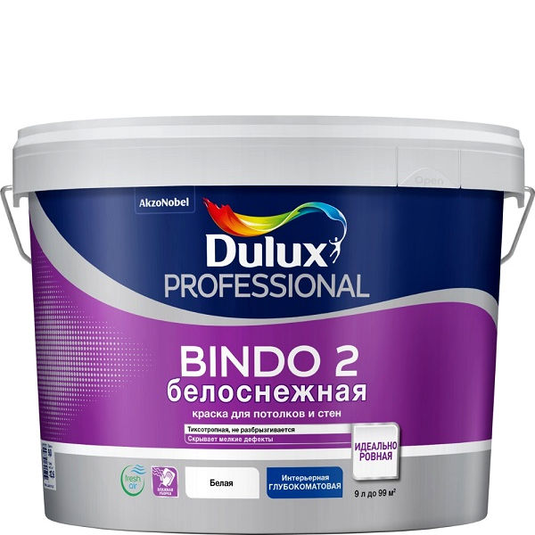 """Фото 1 - Краска """"Dulux"""" Биндо 2 (Bindo 2, Innetak) акриловая белая глубокоматовая интерьерная """"AkzoNobel""""."""