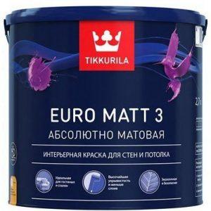 "Фото 5 - Краска ""Евро мат 3"" (Euro Matt 3) абсолютно матовая интерьерная ""Тиккурила/Tikkurila Finncolor""."