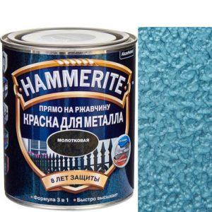 "Фото 3 - Краска ""Hammerite"" Голубая, молотковая для металла 3 в 1 ""Хаммерайт""."