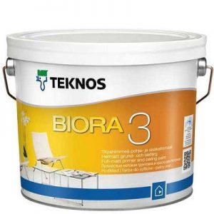 """Фото 2 - Краска """"Биора 3"""" (Biora 3) акрилатная совершенно матовая  для грунтовки и потолков """"Teknos""""."""