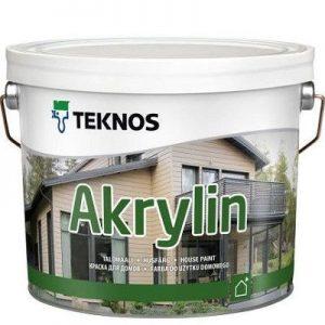 """Фото 1 - Краска """"Акрилин"""" (Akrylin) акрилатная полуматовая для наружных работ """"Teknos""""."""