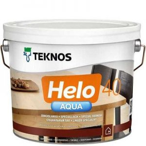 """Фото 8 - Лак """"Хело Аква 40"""" (Helo Aqua 40) водоразбавляемый полуглянцевый для деревянных поверхностей""""Teknos""""."""
