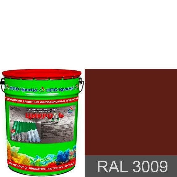 Фото 1 - Цикроль грунт-эмаль для крыш по оцинковке «3 в 1» (RAL 3009) 12.5кг, 25кг.