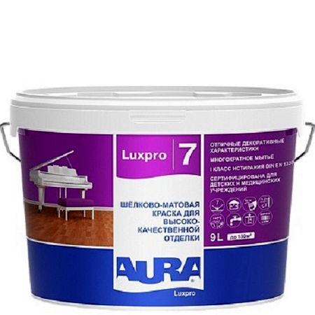 Фото 1 - Краска Aura LuxPRO 7, латексная, шелково-матовая, интерьерная, 0.9л, База TR, Аура.