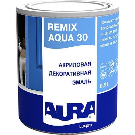 Фото 1 - Эмаль Aura Remix Aqua 30, акриловая, полуматовая, универсальная, 0.9л База TR, Аура.