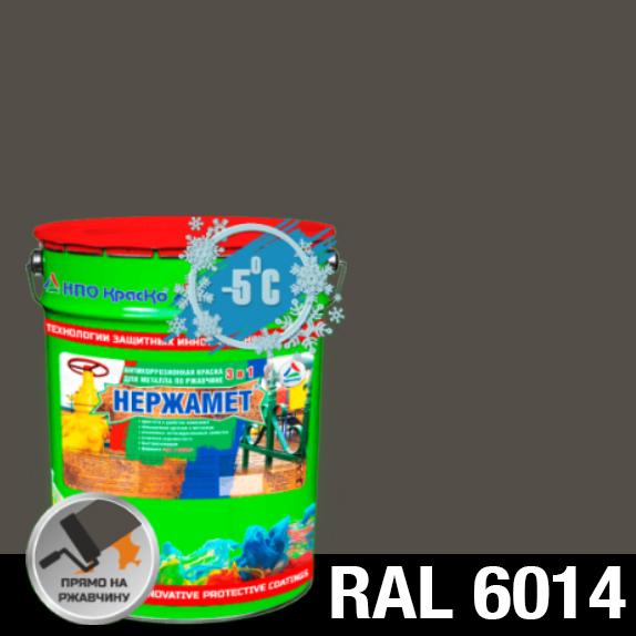 """Фото 1 - Краска Нержамет """"RAL 6014 Оливковая зелень"""" антикоррозионная полуглянцевая для металла """"Вес - 20 кг"""" КрасКо."""