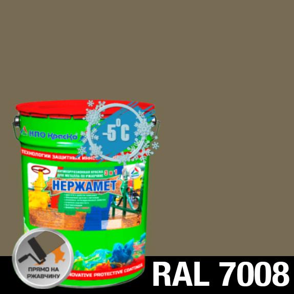 """Фото 1 - Краска Нержамет """"RAL 7008 Серое хаки"""" антикоррозионная полуглянцевая для металла """"Вес - 20 кг"""" КрасКо."""