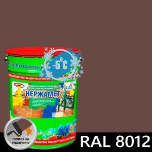 """Фото 9 - Краска """"Нержамет RAL 8012 Красно-коричневый"""" антикоррозионная полуглянцевая для металла """"КрасКо"""" (17кг)."""