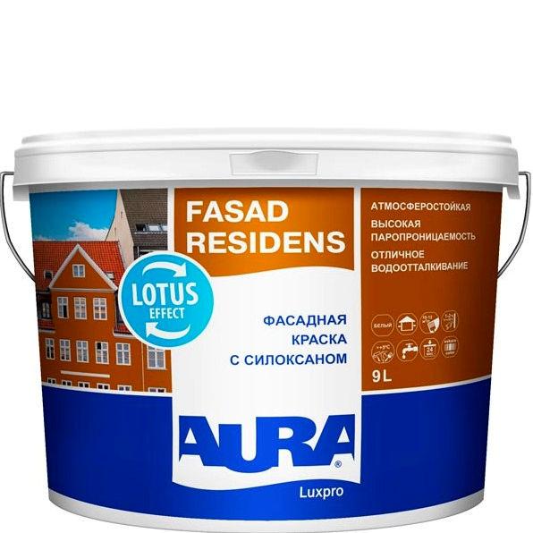 Фото 3 - Краска Aura Fasad Residens, фасадная, латексная, матовая, с силоксаном, 9л База TR, Аура.