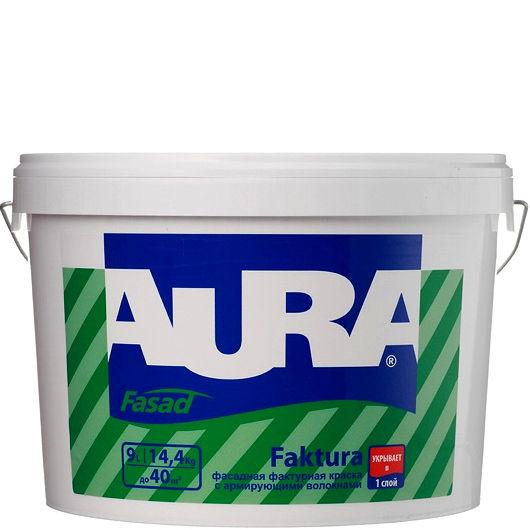 Фото 1 - Краска Aura Fasad Faktura, фасадная, матовая, фактурная, с армирующими волокнами, 9л, База А, Аура.