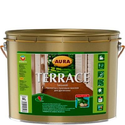 Фото 3 - Масло Aura Terrace Aqua, для наружных деревянных поверхностей 9л, Бесцветное, Аура.