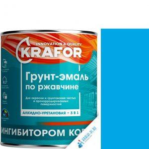 """Фото 4 - Грунт-эмаль Крафор """"по Ржавчине Голубая"""" алкидно-уретановая 3 в 1  уп - 14 шт, по [1кг] Krafor."""