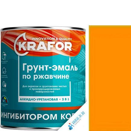 """Фото 7 - Грунт-эмаль Крафор """"по Ржавчине Желтая"""" алкидно-уретановая 3 в 1  уп - 14 шт, по [1кг] Krafor."""