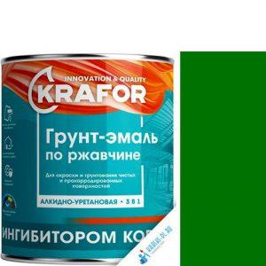 """Фото 10 - Грунт-эмаль Крафор """"по Ржавчине Зеленая"""" алкидно-уретановая 3 в 1  уп - 14 шт, по [1кг] Krafor."""