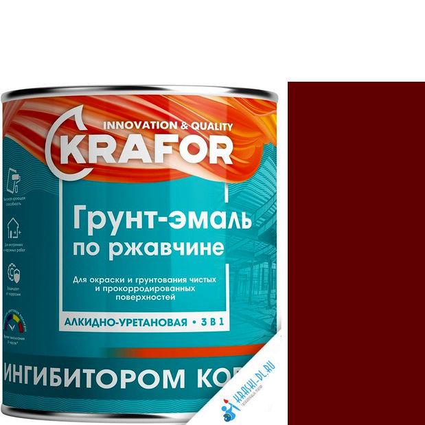 """Фото 13 - Грунт-эмаль Крафор """"по Ржавчине Красно-Коричневая"""" алкидно-уретановая 3 в 1  уп - 14 шт, по [1кг] Krafor."""