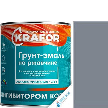"""Фото 16 - Грунт-эмаль Крафор """"по Ржавчине Серая"""" алкидно-уретановая 3 в 1  уп - 14 шт, по [1кг] Krafor."""