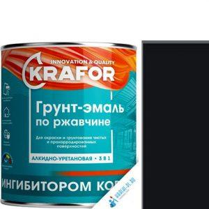 """Фото 5 - Грунт-эмаль Крафор """"по Ржавчине Черная"""" алкидно-уретановая 3 в 1  уп - 6 шт, по [1.9кг] Krafor."""
