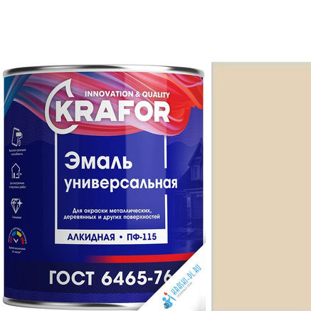 """Фото 6 - Эмаль Крафор """"ПФ-115 Бежевая"""" универсальная глянцевая алкидная  [20кг] Krafor."""