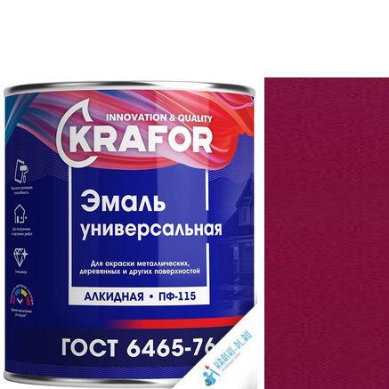 """Фото 20 - Эмаль Крафор """"ПФ-115 Вишневая"""" универсальная глянцевая алкидная  уп - 14 шт, по [0.8кг] Krafor."""