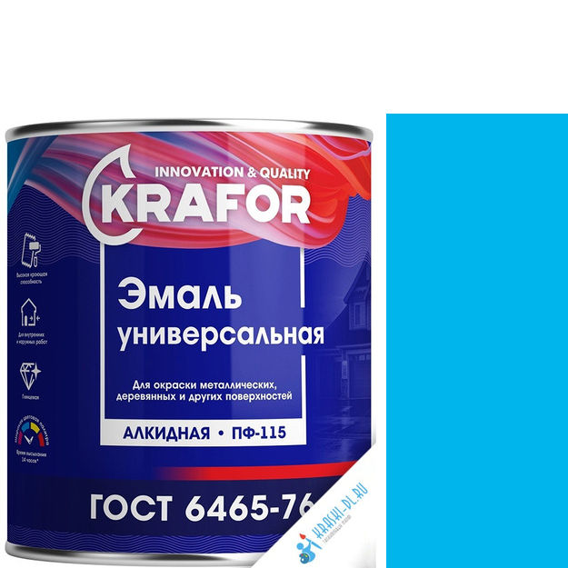 """Фото 24 - Эмаль Крафор """"ПФ-115 Голубая"""" универсальная глянцевая алкидная  [20кг] Krafor."""