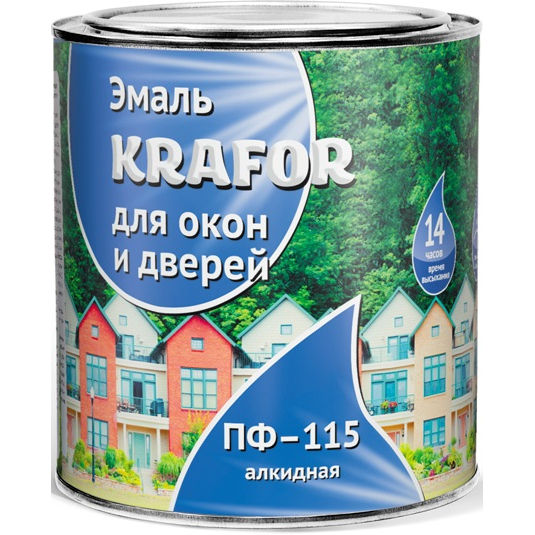 """Фото 2 - Эмаль Крафор """"для Окон и Дверей"""" белая глянцевая алкидная  уп - 14 шт, по [0.9кг] Krafor."""