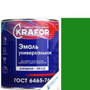 """Фото 14 - Эмаль Крафор """"ПФ-115 Зеленая"""" универсальная глянцевая алкидная  уп - 6 шт, по [1.8кг] Krafor."""