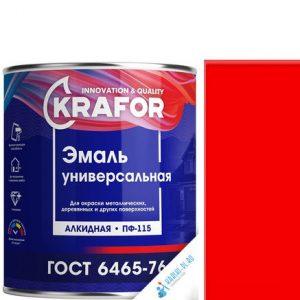 """Фото 12 - Эмаль Крафор """"ПФ-115 Красная"""" универсальная глянцевая алкидная  уп - 6 шт, по [1.8кг] Krafor."""