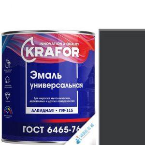 """Фото 3 - Эмаль Крафор """"ПФ-115 Черная"""" универсальная глянцевая алкидная  уп - 6 шт, по [1.8кг] Krafor."""