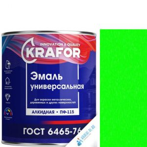 """Фото 1 - Эмаль Крафор """"ПФ-115 Ярко-Зеленая"""" универсальная глянцевая алкидная  уп - 6 шт, по [1.8кг] Krafor."""
