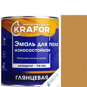 """Фото 1 - Эмаль Крафор """"ПФ-266 Желто-Коричневая"""" глянцевая быстросохнущая для пола износостойкая  [20кг] Krafor."""