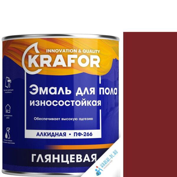 """Фото 1 - Эмаль Крафор """"ПФ-266 Красно-Коричневая"""" глянцевая быстросохнущая для пола износостойкая  уп - 4 шт, по [6кг] Krafor."""