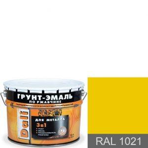 """Фото 2 - Грунт-Эмаль по ржавчине Дали """"RAL 1021 Рапсово-жёлтый"""" Гладкая, глянцевая для металла 3 в 1  [уп. 3 шт по 2л] Dali."""