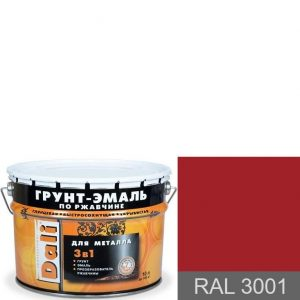 """Фото 3 - Грунт-Эмаль по ржавчине Дали """"RAL 3001 Сигнальный-красный"""" Гладкая, глянцевая для металла 3в1  [уп. 3 шт по 2л] Dali."""