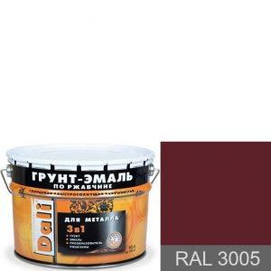 """Фото 4 - Грунт-Эмаль по ржавчине Дали """"RAL 3005  Вишневый"""" Гладкая, глянцевая для металла 3 в 1  [уп. 3 шт по 2л] Dali."""