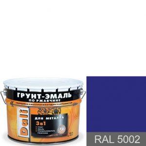 """Фото 1 - Грунт-Эмаль по ржавчине Дали """"RAL 5002 Ультрамариново-синий"""" Гладкая глянцевая для металла 3в1 [уп. 3 шт по 2л] Dali."""
