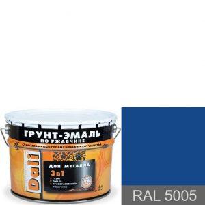 """Фото 2 - Грунт-Эмаль по ржавчине Дали """"RAL 5005 Сигнальный синий"""" Гладкая, глянцевая для металла 3 в 1  [уп. 3 шт по 2л] Dali."""