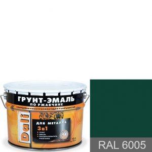 """Фото 10 - Грунт-Эмаль по ржавчине Дали """"RAL 6005 Зеленый мох"""" Гладкая, глянцевая для металла 3 в 1  [уп. 3 шт по 2л] Dali."""