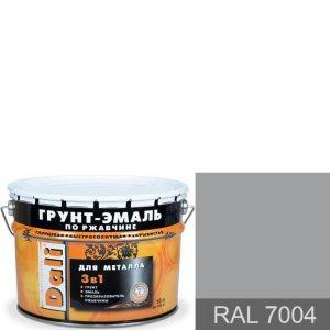 """Фото 1 - Грунт-Эмаль по ржавчине Дали """"RAL 7004 Серый сигнальный Гладкая"""", глянцевая для металла 3 в 1  [10л] Dali."""